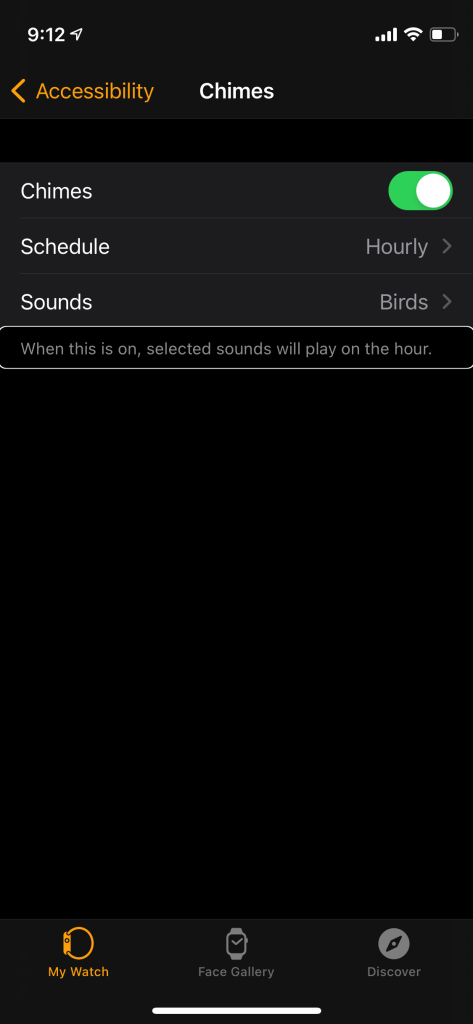 Screen shot showing the chimes settings screen under accessibility